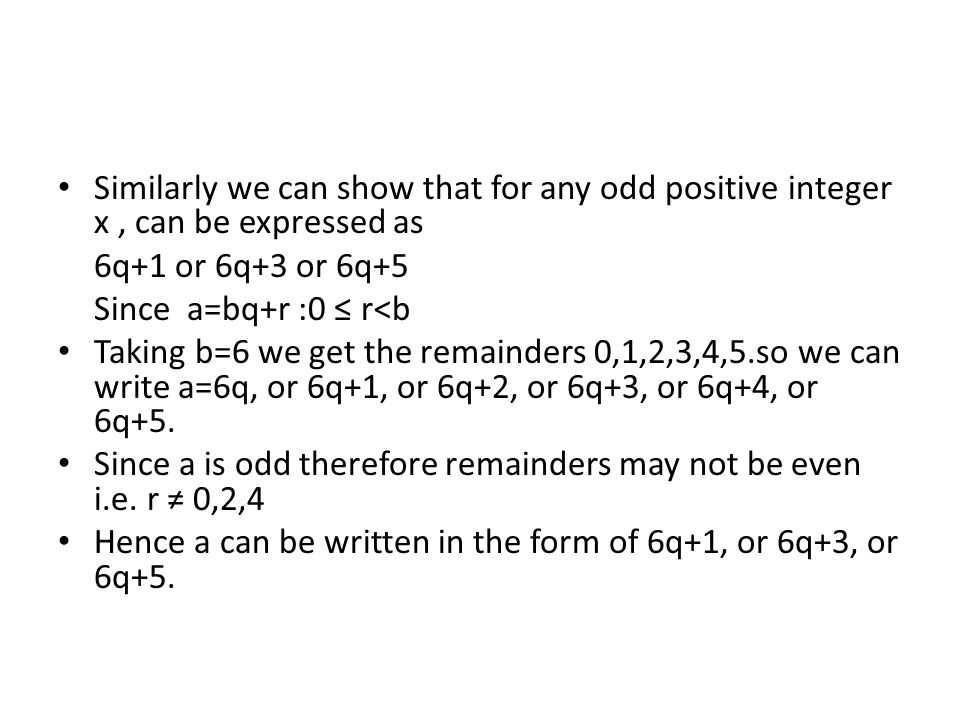 Similarly we can show that for any odd positive integer x , can be expressed as