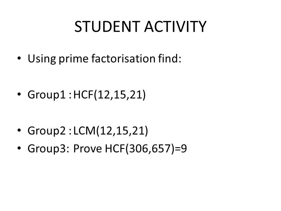 STUDENT ACTIVITY Using prime factorisation find: