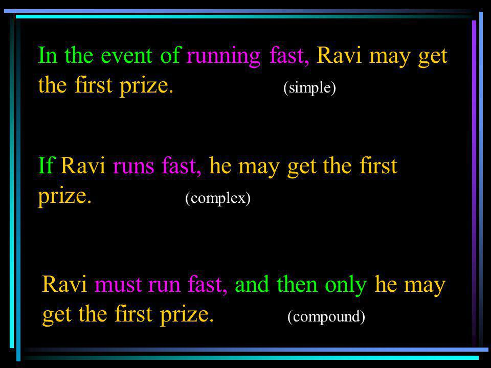 In the event of running fast, Ravi may get the first prize. (simple)
