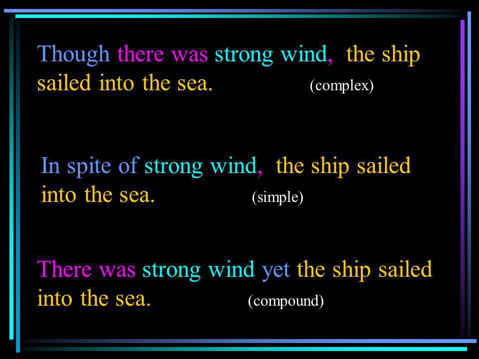 Though there was strong wind, the ship sailed into the sea. (complex)