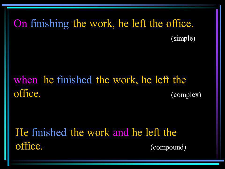 On finishing the work, he left the office. (simple)