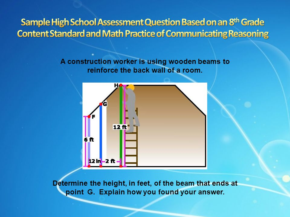 Sample High School Assessment Question Based on an 8th Grade Content Standard and Math Practice of Communicating Reasoning