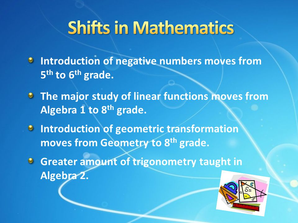 Shifts in Mathematics Introduction of negative numbers moves from 5th to 6th grade.