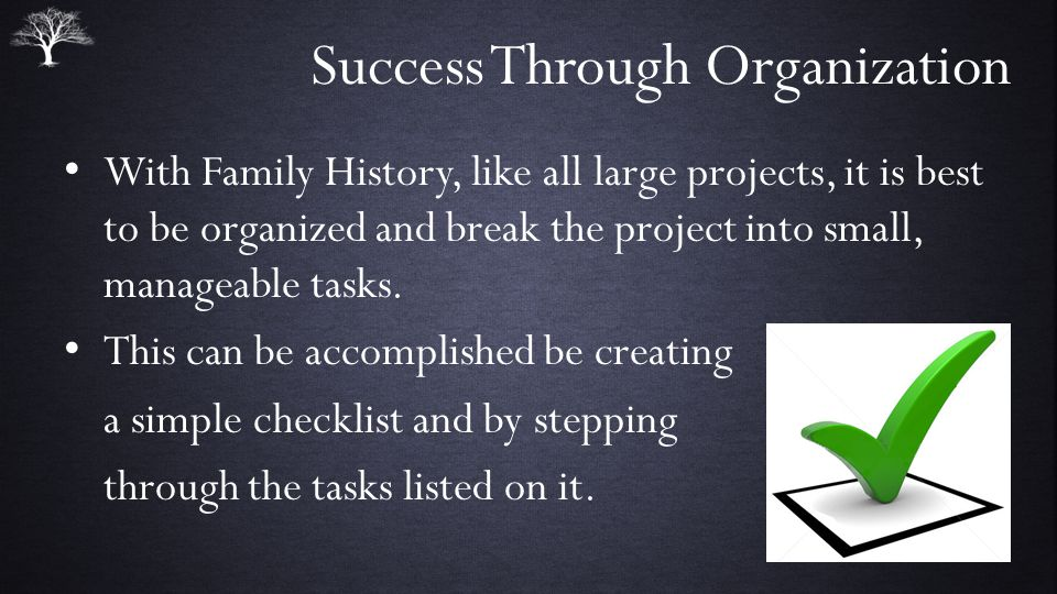 Success Through Organization