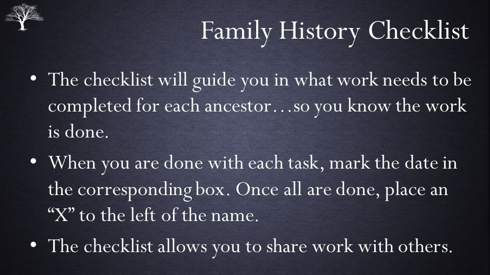 Family History Checklist