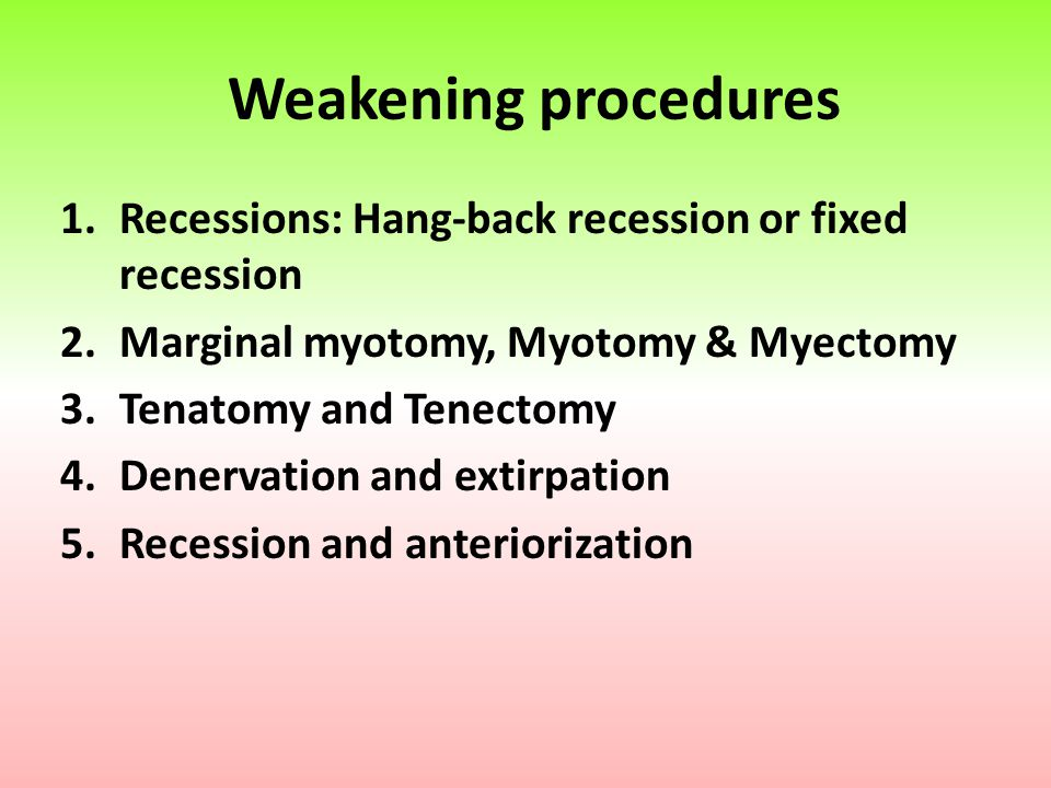 Weakening procedures Recessions: Hang-back recession or fixed recession. Marginal myotomy, Myotomy & Myectomy.