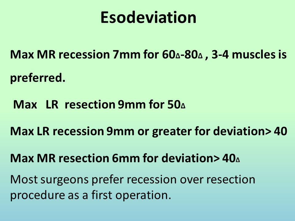 Esodeviation Max MR recession 7mm for 60∆-80∆ , 3-4 muscles is preferred. Max LR resection 9mm for 50∆