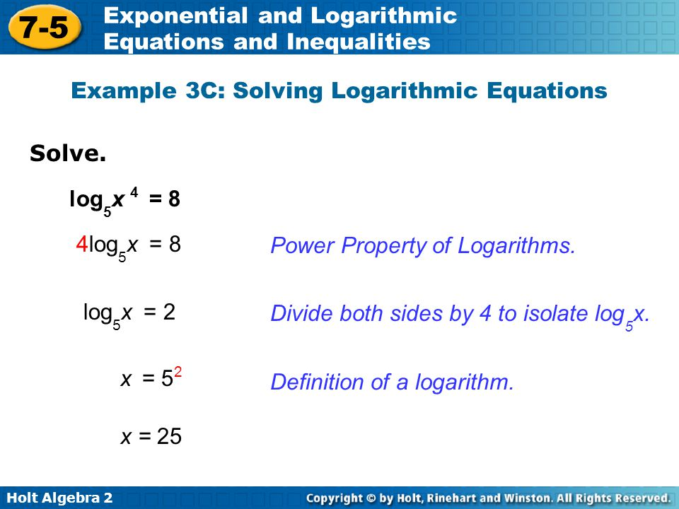 Example 3C: Solving Logarithmic Equations