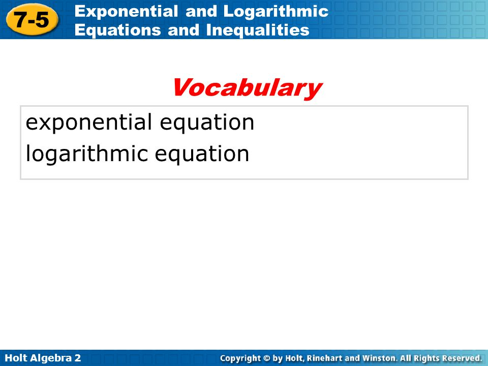 Vocabulary exponential equation logarithmic equation