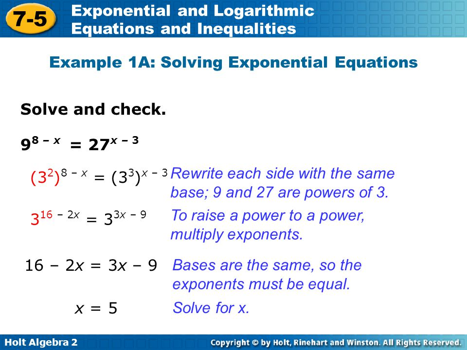 Worksheet solving exponential equations algebra 2