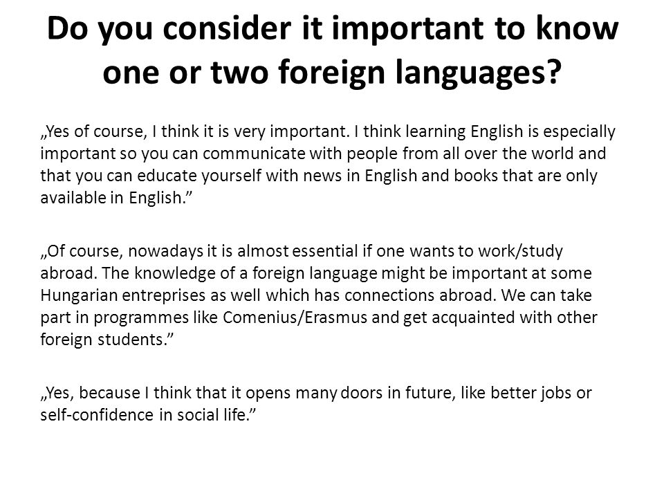 The Importance of Learning Foreign Languages