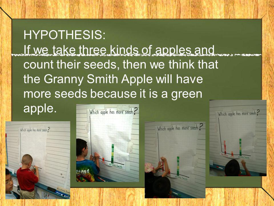 HYPOTHESIS: If we take three kinds of apples and count their seeds, then we think that the Granny Smith Apple will have more seeds because it is a green apple.