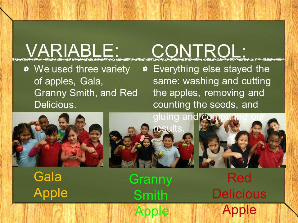 VARIABLE: CONTROL: Gala Apple Red Delicious Apple Granny Smith Apple