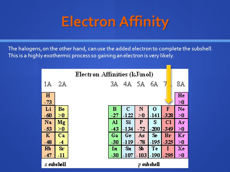 Electron Affinity The halogens, on the other hand, can use the added electron to complete the subshell.