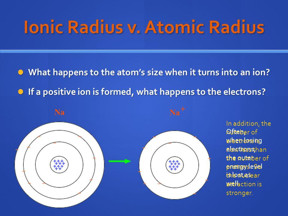 Ionic Radius v. Atomic Radius
