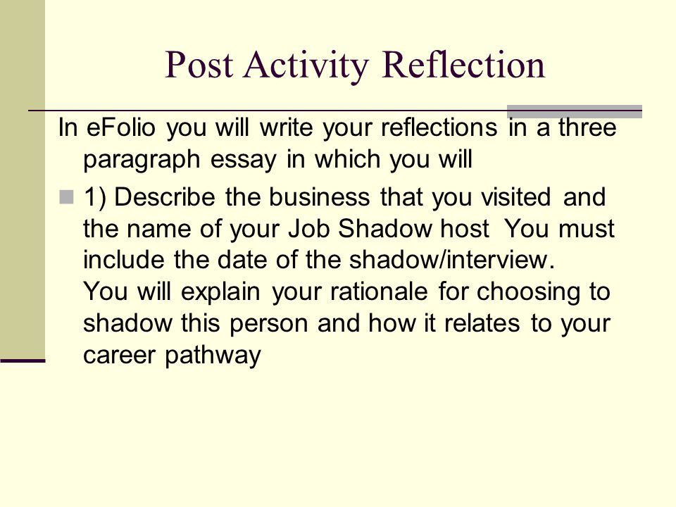 job shadowing essays
