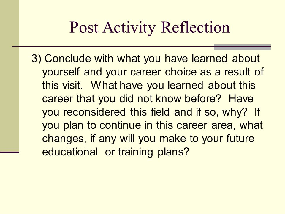 Post Activity Reflection
