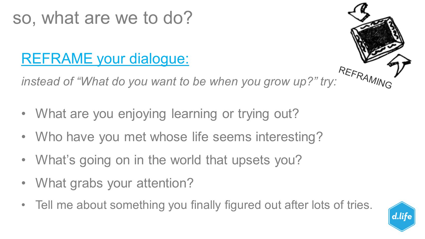 so, what are we to do REFRAME your dialogue: