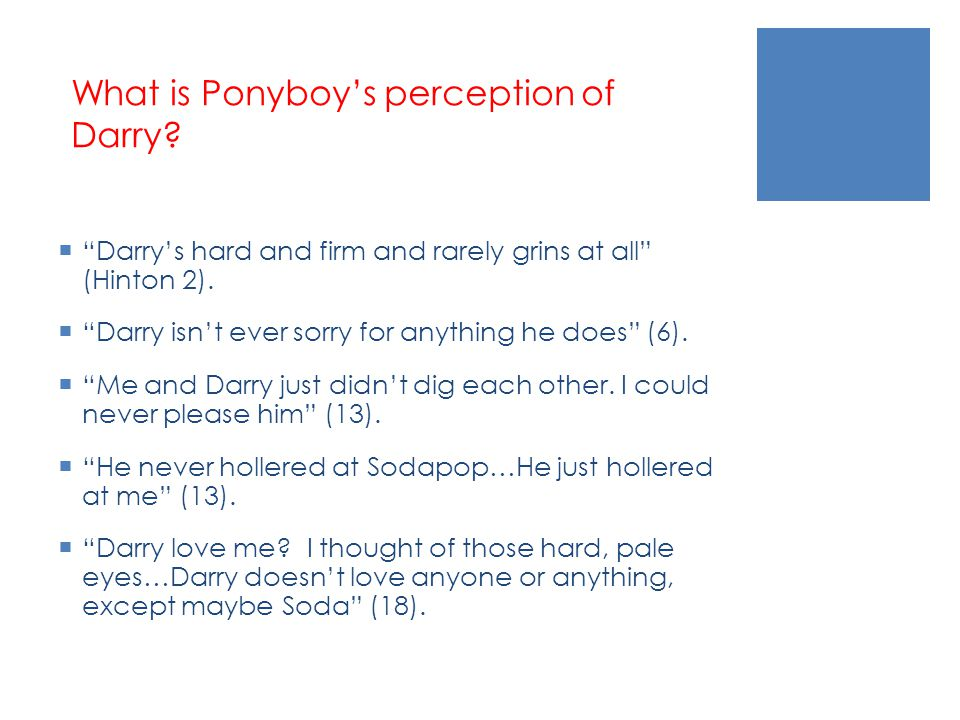 What is Ponyboy's perception of Darry