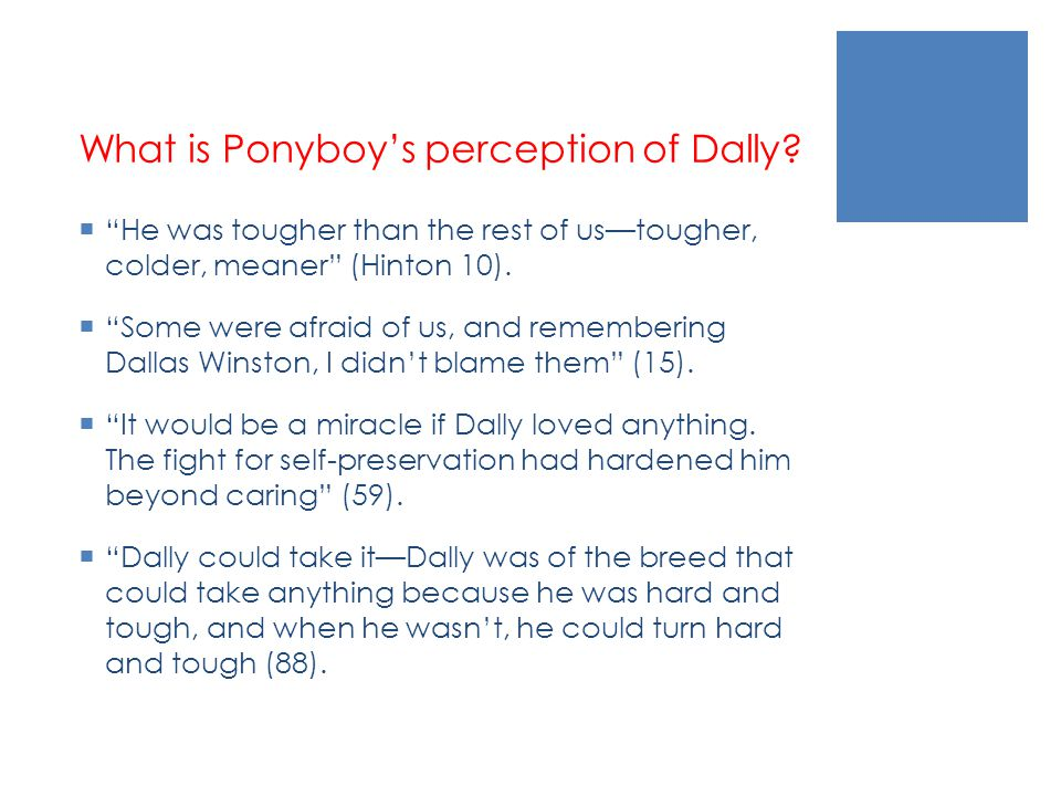 What is Ponyboy's perception of Dally
