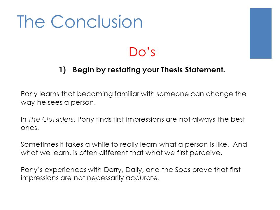 Begin by restating your Thesis Statement.