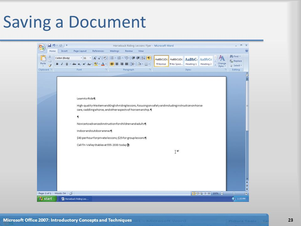 Saving a Document Microsoft Office 2007: Introductory Concepts and Techniques