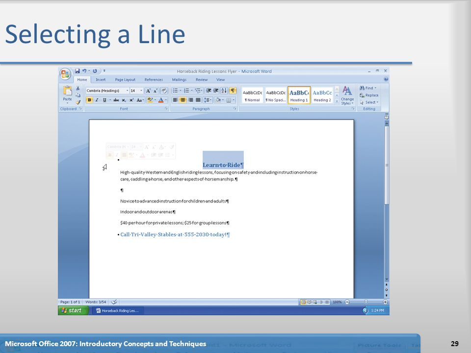 Selecting a Line Microsoft Office 2007: Introductory Concepts and Techniques