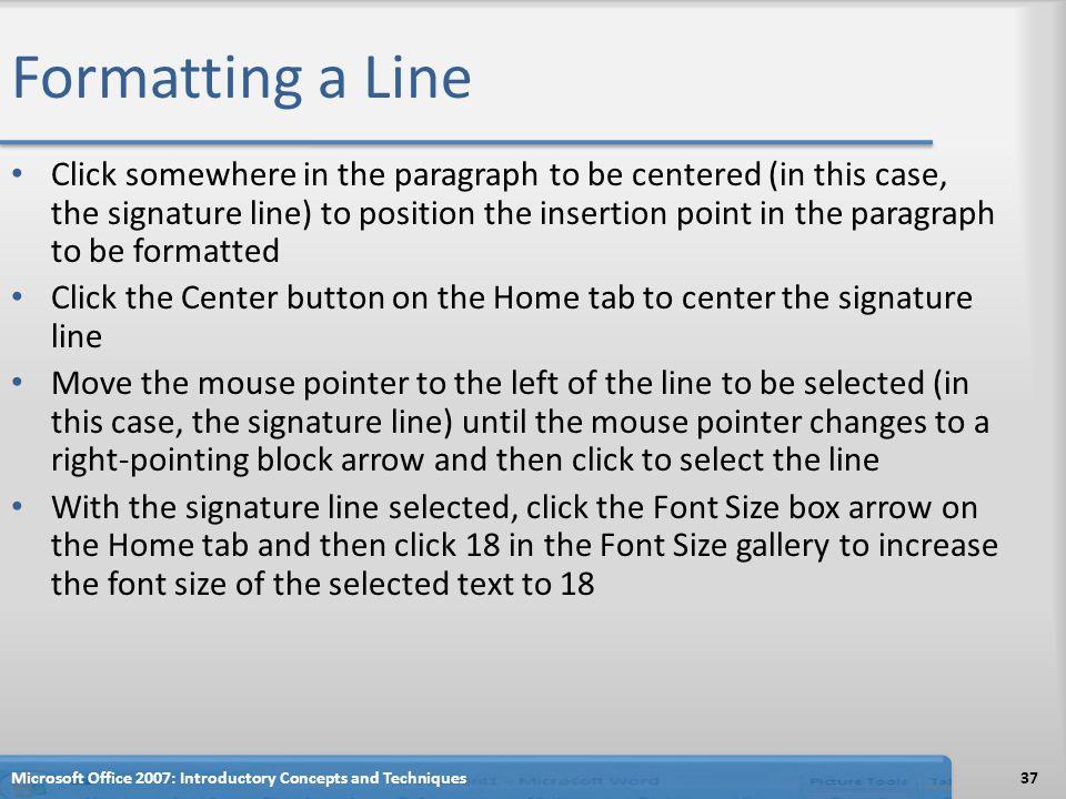 Formatting a Line