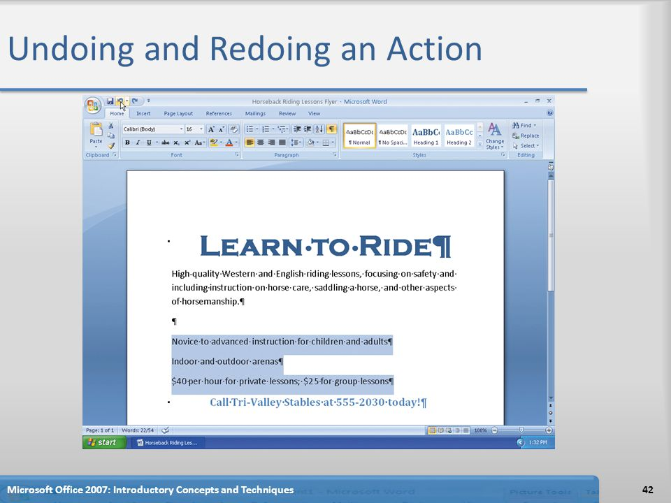 Undoing and Redoing an Action