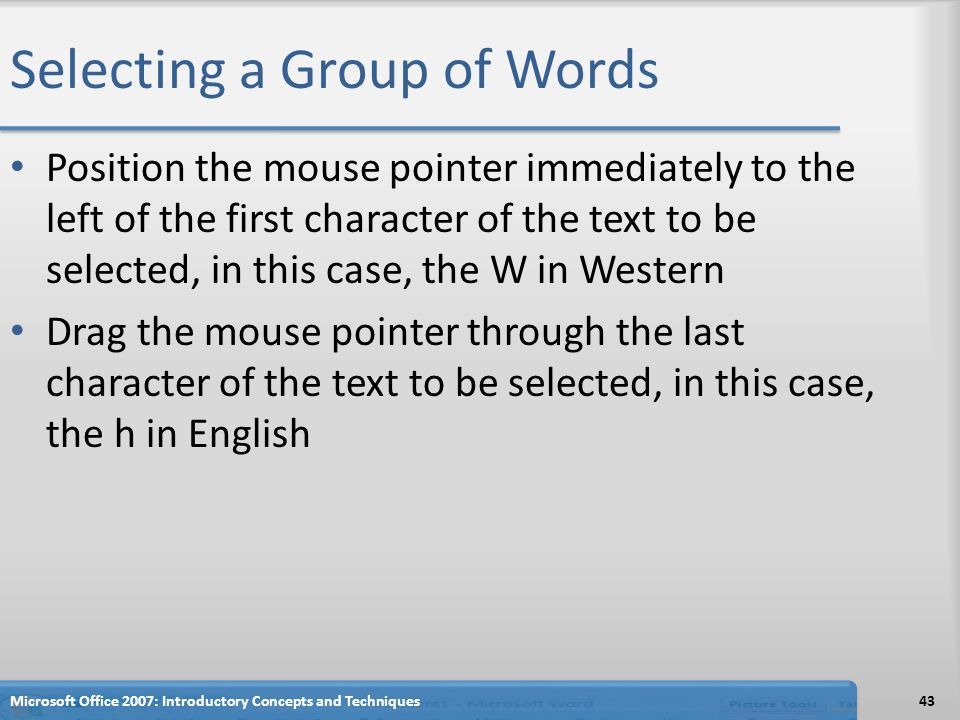 Selecting a Group of Words