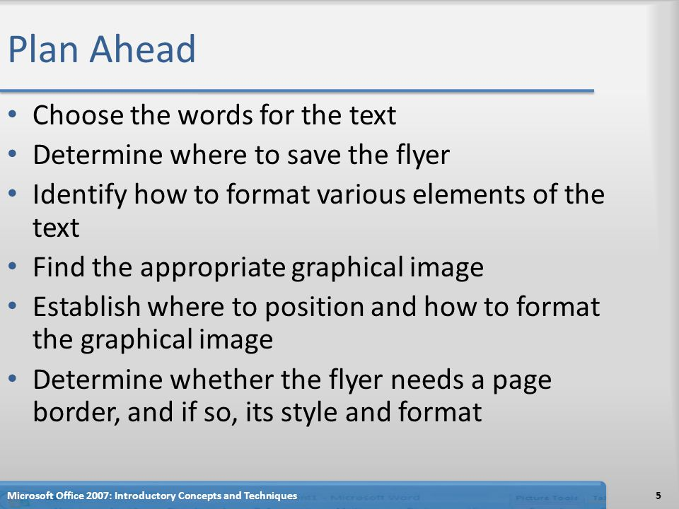 Plan Ahead Choose the words for the text