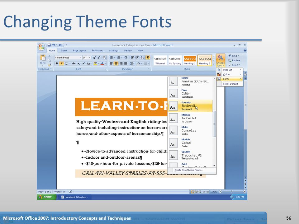 Changing Theme Fonts Microsoft Office 2007: Introductory Concepts and Techniques