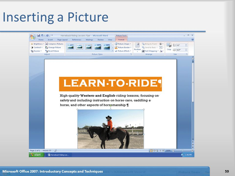 Inserting a Picture Microsoft Office 2007: Introductory Concepts and Techniques