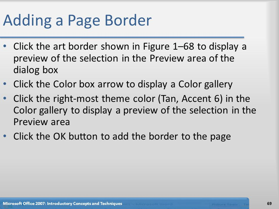 Adding a Page Border Click the art border shown in Figure 1–68 to display a preview of the selection in the Preview area of the dialog box.