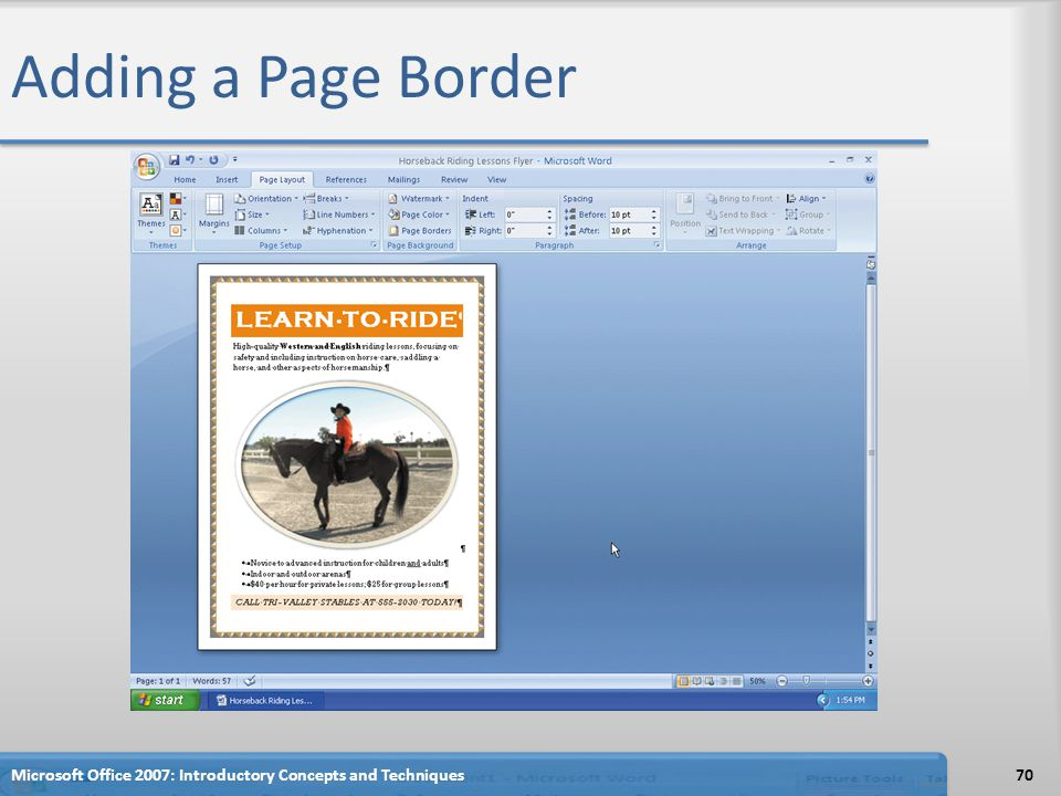 Adding a Page Border Microsoft Office 2007: Introductory Concepts and Techniques