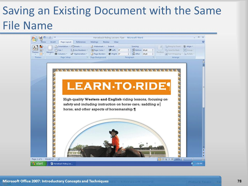 Saving an Existing Document with the Same File Name