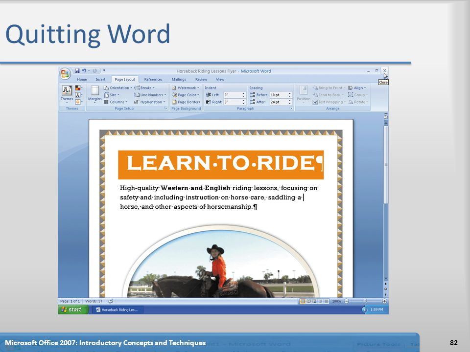 Quitting Word Microsoft Office 2007: Introductory Concepts and Techniques