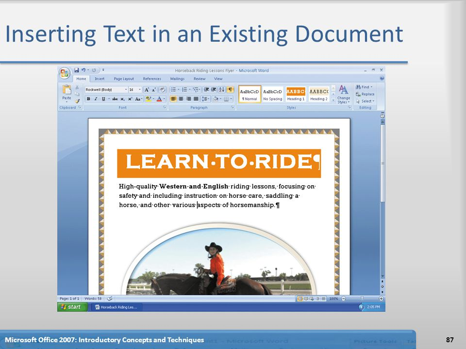 Inserting Text in an Existing Document