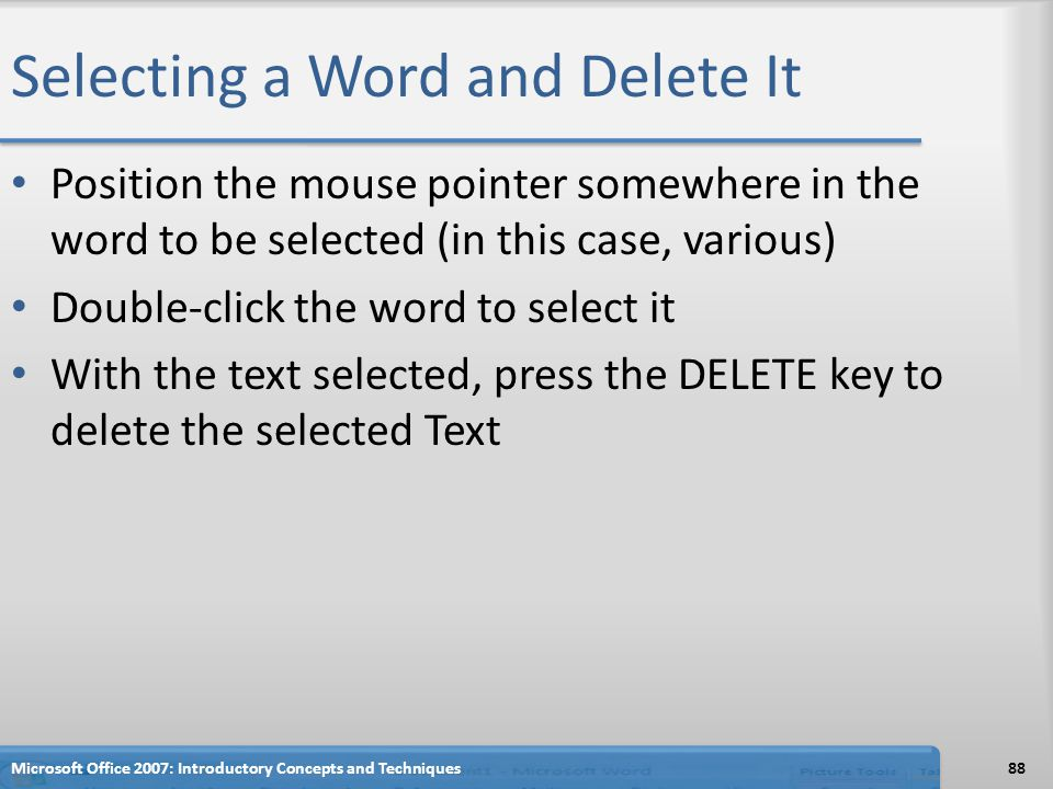 Selecting a Word and Delete It