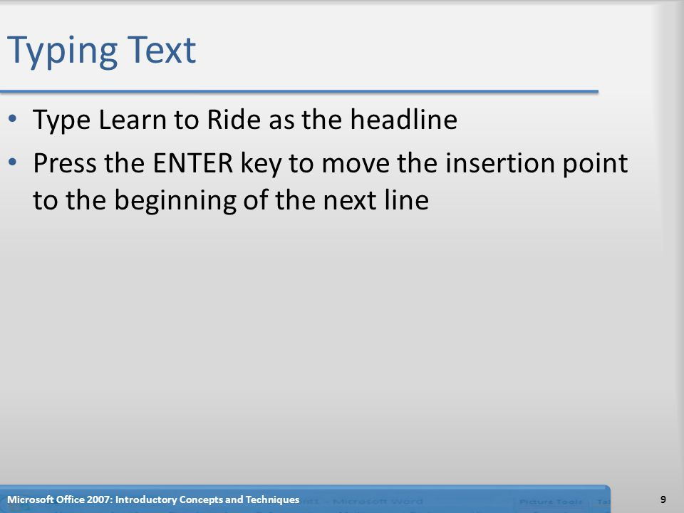 Typing Text Type Learn to Ride as the headline