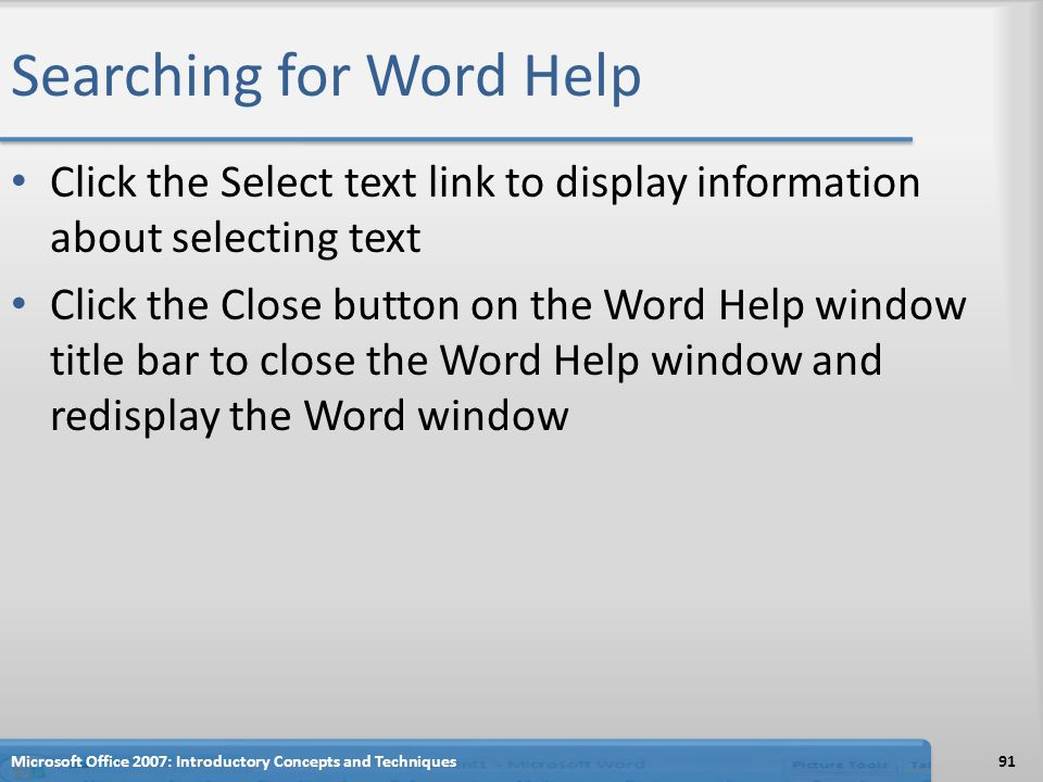 Searching for Word Help