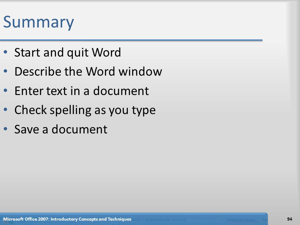 Summary Start and quit Word Describe the Word window