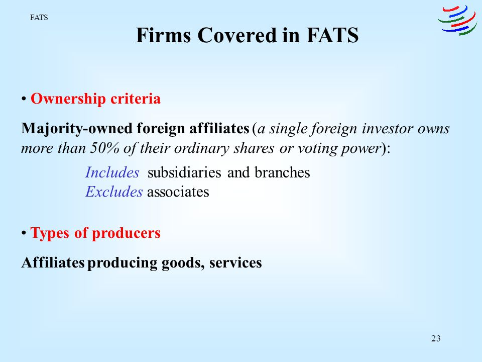 Firms Covered in FATS Ownership criteria