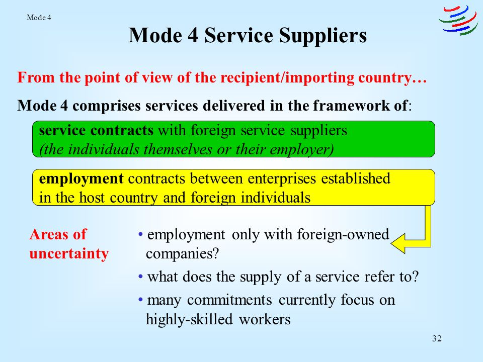 Mode 4 Service Suppliers