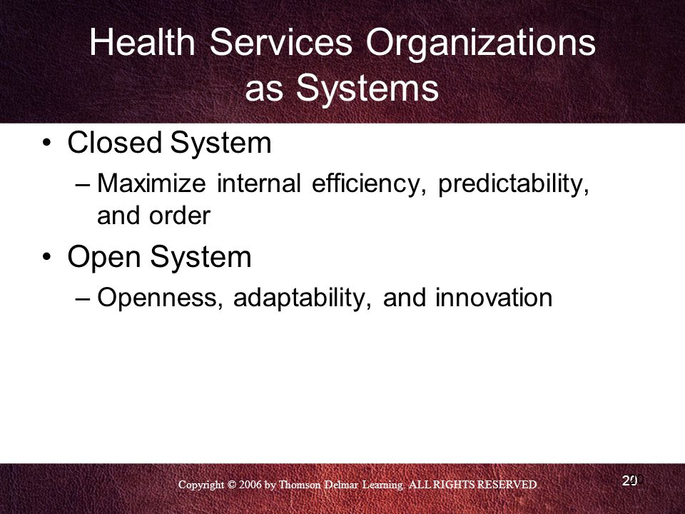 Health Services Organizations as Systems