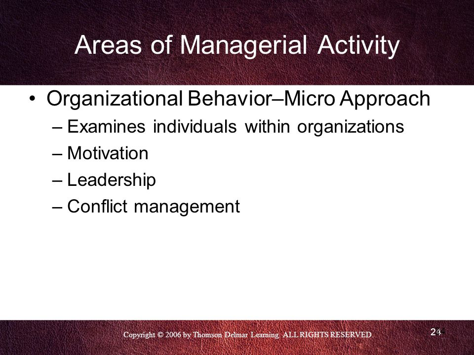 Areas of Managerial Activity