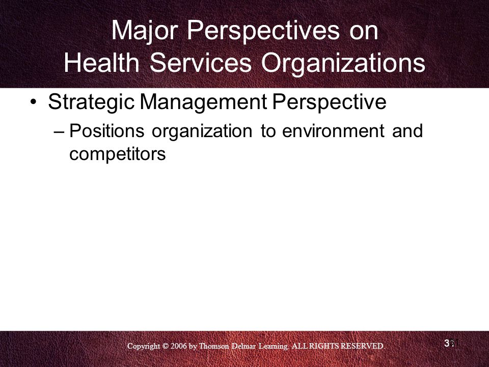 Major Perspectives on Health Services Organizations