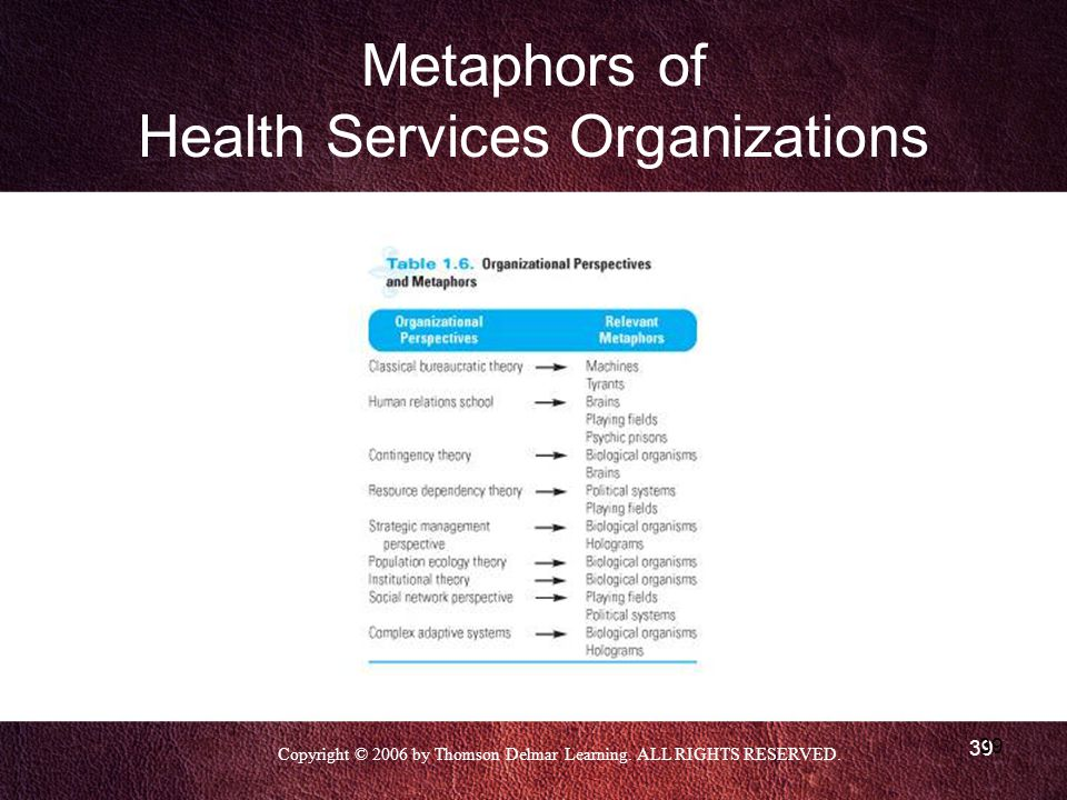 Metaphors of Health Services Organizations