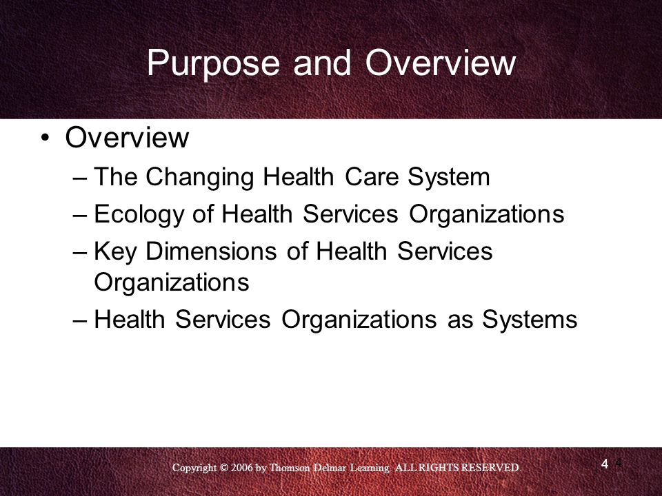 Purpose and Overview Overview The Changing Health Care System