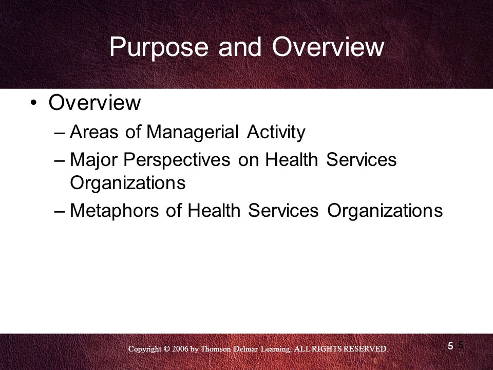 Purpose and Overview Overview Areas of Managerial Activity